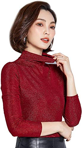 Ababalaya Women's Retro Basic Turtleneck Glitter Long Sleeve Slim Fit Blouse Top,Red,Tag XL = US Size 2-4