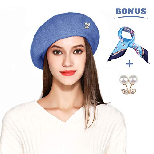 Jeicy Wool Beret Hat Solid Color French Artist Beret Skily Scarf Brooch (Sky Blue) -