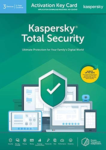 Kaspersky Total Security 2020   3 Devices   1 Year   PC/Mac/Android   Activation Key Card by Post with Antivirus Software, Internet Security, Secure VPN, Password Manager, Safe Kids