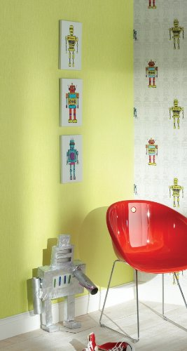 Retro Robots Childrens Nursery Canvas Wall Art pictures Set of 3 ...