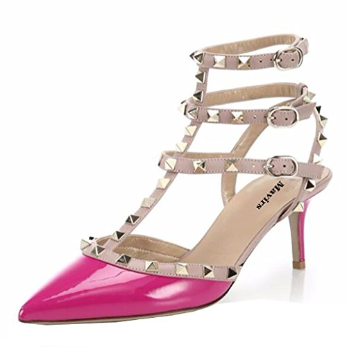 Mavirs Women's Pointed Toe Ankle Strap Pumps T-Strap Mid Heel Rivets Studded Shoes Rose outlet free shipping qHuhnq