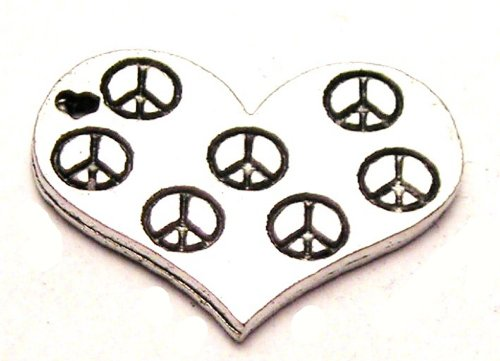 ChubbyChicoCharms Peace Signs In A Heart Genuine American Pewter Charm ()
