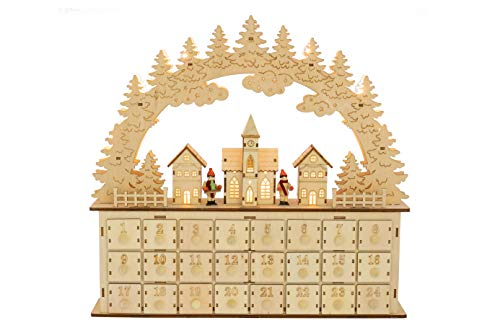 Clever Creations Clouds and Santa Village Advent Calendar | 24 Working Drawers to Count Down Days Till Christmas Cheer | Perfect Holiday Decor|Battery Operated - not Included|Measures 18