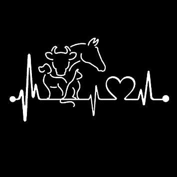 Cvxgdsfg 20 X 10.6CM perro gato caballo vaca latido monitor de línea de vida creativo divertido animal etiqueta engomada del coche (Color : White)
