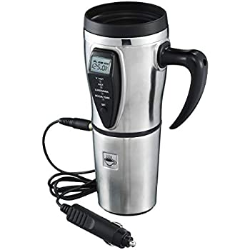 Tech Tools Heated Smart Travel Mug with Temperature Control 16 Ounce, 12V Adapter - Stainless Steel (Renewed)