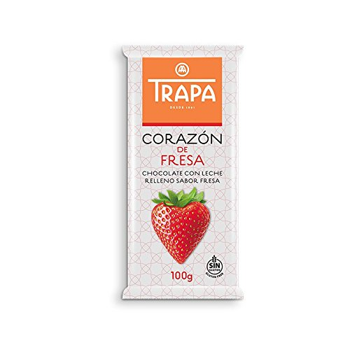 Trapa Chocolates Heart Milk Chocolate Bar with Strawberry Filling, 3.52 Ounce (Pack of 60)