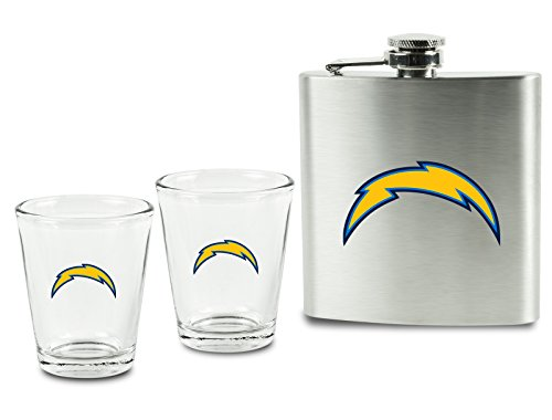NFL Los Angeles Chargers Shot Glasses &  Brushed Stainless Steel Flask Set