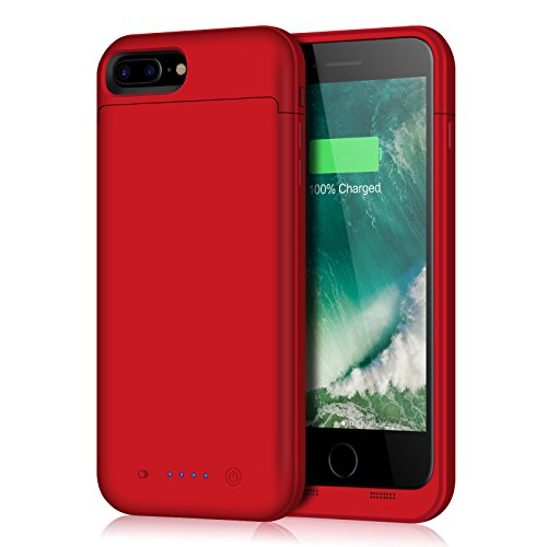 iPhone 8 Plus/7 Plus Battery Case,7000mAh Battery Pack Charger Case for 8 Plus Extended Portable Battery Charging Case for iPhone 7 Plus,8 Plus - Red