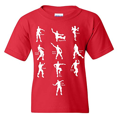 Emote Dances - Funny Youth T Shirt - Large - Red