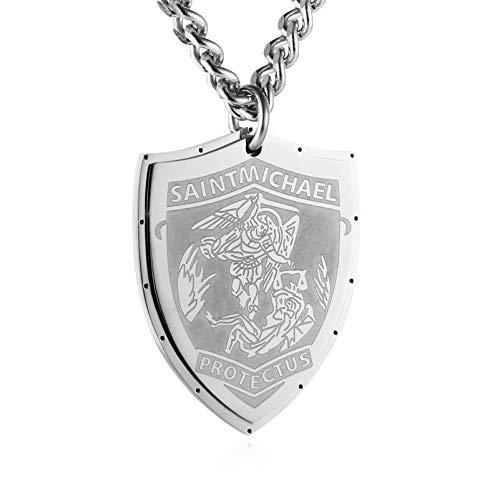 HZMAN Saint Michael Pendant Stainless Steel St. Michael The Archangel Necklace Jewelry (Shield - Silver) ()