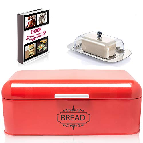 "Vintage Bread Box For Kitchen Stainless Steel Metal in Retro Red + FREE Butter Dish + FREE Bread Serving Suggestions eBook 16.5"" x 9"" x 6.5"" Large Bread Bin storage by All-Green Products"