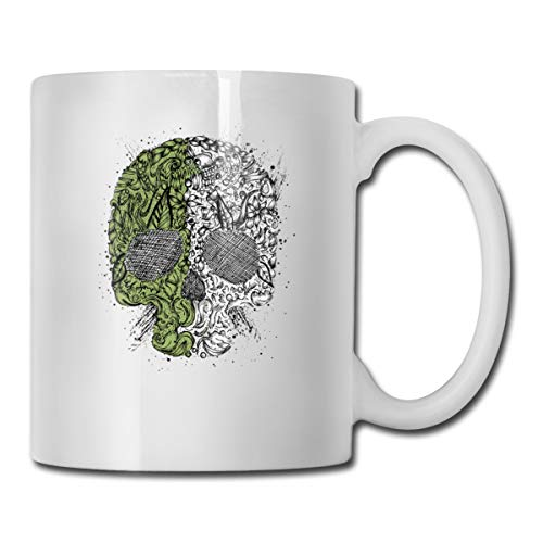 Roing Bo Coffee Mugs 11oz Funny Cup Milk Juice Or Tea Cup Green and White Crazy Skull -