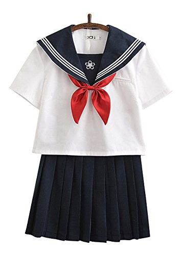 Halloween Costumes Wear School (Japanese School Uniform Cosplay, Women Girls Halloween Anime Sailor Costume Outfits White (XL--US 16-18, Black))