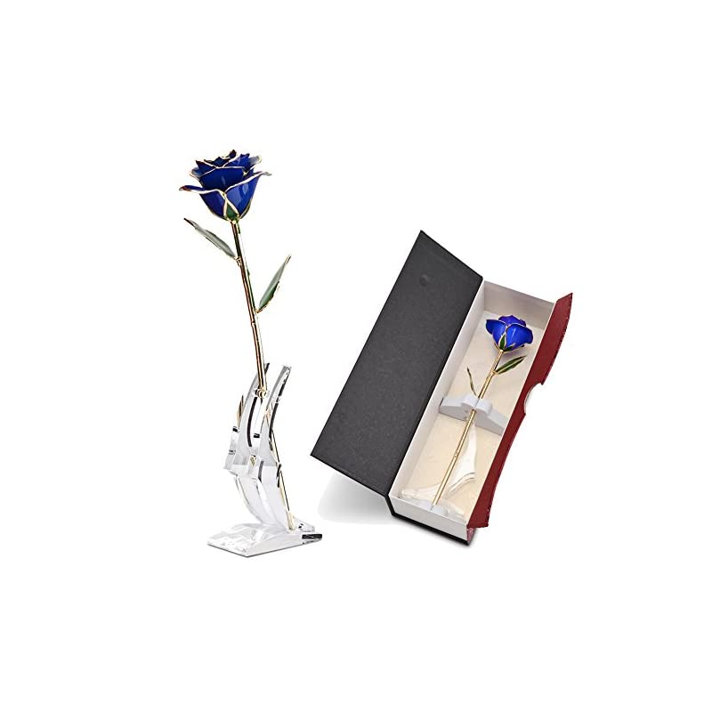 silk flower arrangements abedoe long stem 24k gold rose flower in box, best romantic gift for anniversary, thanks giving day, valentine's day, mother's day, birthday gift (blue)