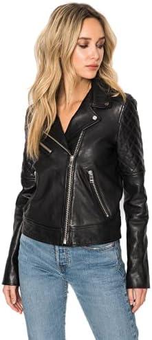 Dried Apple Women's Sheepskin Leather Long Sleeves Black Jacket