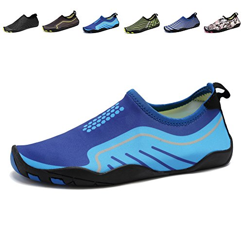 CIOR Men and Women's Barefoot Quick-Dry Water Sports Aqua Shoes with 14 Drainage Holes for Swim, Walking, Yoga, Lake, Beach, Garden, Park, Driving, Boating,SYY04,light blue,39