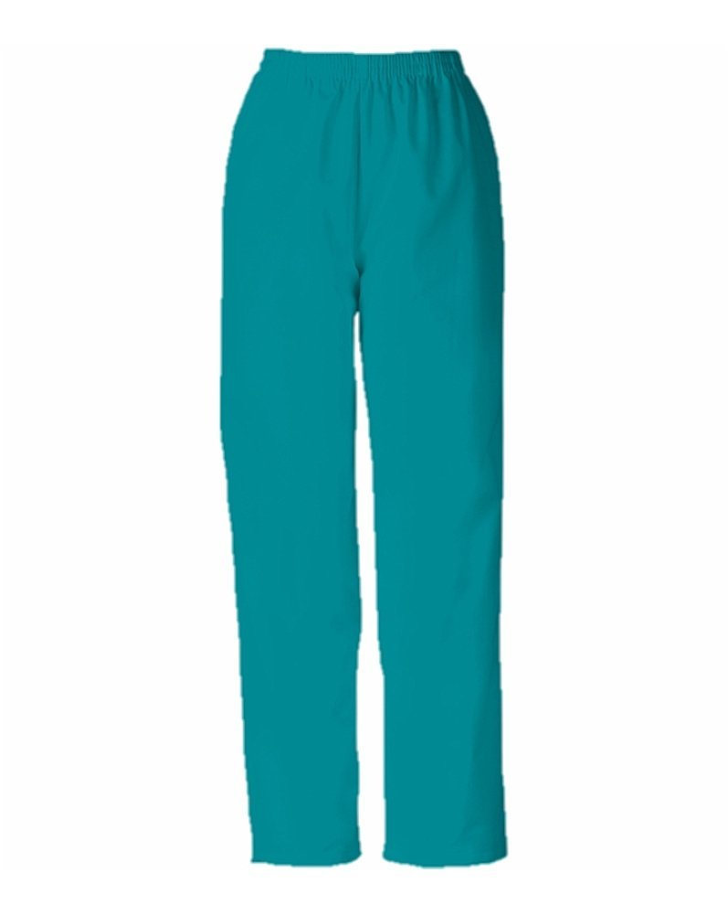 Cherokee Women's Workwear Scrubs Pull-On Pant, Teal Blue, Small-Petite