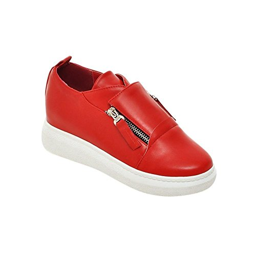 Latasa Womens Fashion Zippers Inside Wedge Slip On Casual Comfort Shoes Red pzxImzTUW0