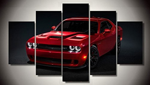 Red Dodge Challenger Hellcat Muscle Classic Racing Sport Super Rally Car Supercar Canvas Prints Picture Painting Framed Ready to Hang (5 - Super Cars Muscle
