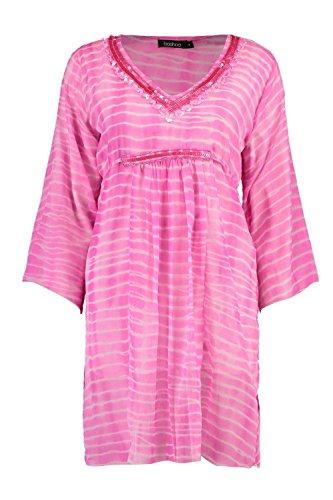 fed8df2be2c Boohoo Womens Julia Embellished Beach Kaftan in Pink size S