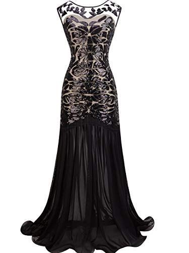 FAIRY COUPLE Women's Maxi Long 1920s Gatsby Dresses Sequined Embellished Prom Evening Dress S Apricot Black]()