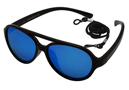 Coolsome Kids Rubber Flexible With Strap Polarized Aviator Sunglasses For Boys Girls Age 3 -9 Years Mirror Lens Optional (Mirror Lens Black - Boy Baby Sunglasses Aviator