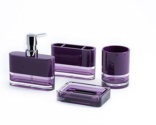 IMMANUEL Float Designer 4-Piece Elegant, Beautiful, Translucent Bathroom Accessory Set (includes Tumbler, Toothbrush Holder, Lotion Dispenser and Soap Dish) – Made with Durable Acrylic - Purple (Soap Style Dish European)