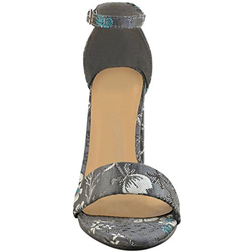 Fashion Thirsty Womens Ladies Floral Block High Heels Ankle Strappy Sandals Party Evening Shoes Dark Grey Satin c8uonH