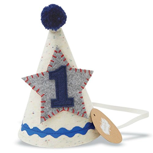 Mud Pie Baby Boys First Birthday Felt Party Hat, Blue, One Size