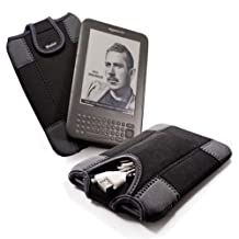 "E-Volve e-glove neoprene sleeve case cover & cable pouch for all 6"" screen e-book readers including Sony Reader PRS-650 / PRS-600 / Iriver Story / Be-book / Nook / Elonex / Kobo Touch Glo / PocketBook"