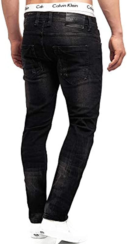 Indicode Mcintyre dżinsy męskie z 98% bawełny z 5 kieszeniami | dżinsy męskie Denim Stretch Jeans spodnie męskie Regular fit Men Washed Out Destroyed Stretch jeans dla mężczyzn: Odzie&#