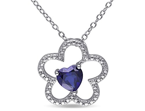 Lab Created Blue Sapphire Floral Heart Pendant Necklace 1 Carat (ctw) with Chain in Sterling Silver