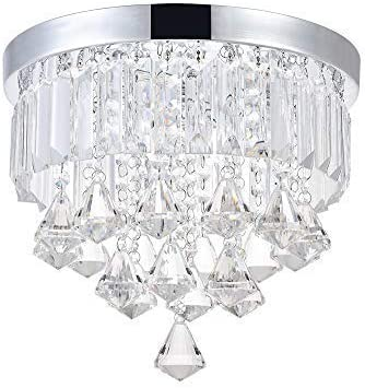 ANKEE Smart Contemporary LED Ceiling Crystal Chandeliers – Modern Flush Mount Ceiling Light, Work with Alexa and Google Assistant Diamond 11.8 D