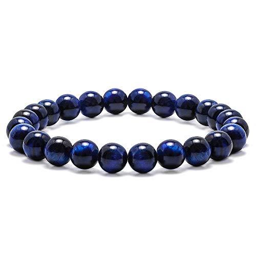Tiger Eye Amulet (M MOOHAM Gemstone Bead Bracelets, 8mm Natural Blue Tiger Eye Stone Beads Bracelet, Men Women Stress Relief Yoga Beads Elastic Semi-Precious Gemstone Bracelet Bangle)
