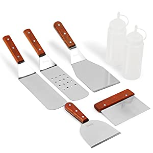 Kenley Griddle Spatula & Scraper Set - 7-piece Tools & Accessories for Flat Top Grill - Outdoor BBQ Electric Plancha Teppanyaki Hibachi - Stainless Steel Professional Non-stick Turner Cooking Kit