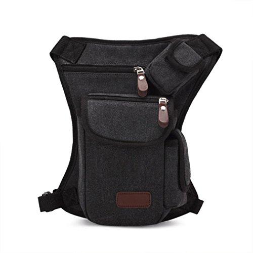 Bolsa De Pierna SMARTLADY Hombre Bolso de Cintura para Deporte Aire Libre excursiones y viajes (Beige) Negro