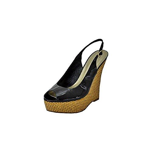 Bonnibel Yumi-1 Zwarte Octrooi Dames Sleehak Sandalen