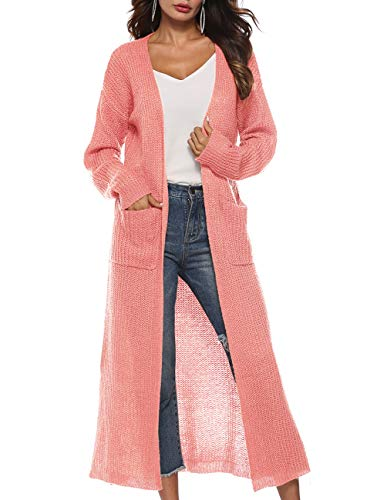 Blingfit Womens Long Maxi Cardigan Plus Size Long Sleeve V Neck Knitted Sweater Boho Cardigan Sweater Knit Long Duster Pocket (Sleeve Sweater V-neck Kimono)