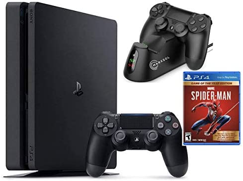 2021 Sony Playstation 4 1TB Slim Edition Console Holiday Bundle - PS4 Console + 1 DualSurprise Wireless Controller + Marvel's Spider-Man: Game of The Year + Marxsol PS4 Controller Fast Charging Dock