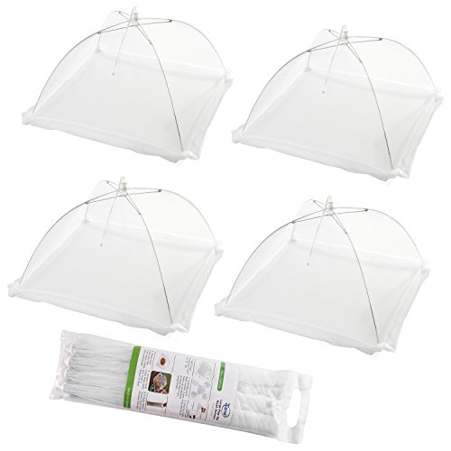 Pop Up Food Covers - (Set of 4) Large Pop-Up Mesh Screen Food Cover Tents - Keep Out Flies, Bugs, Mosquitos - Reusable