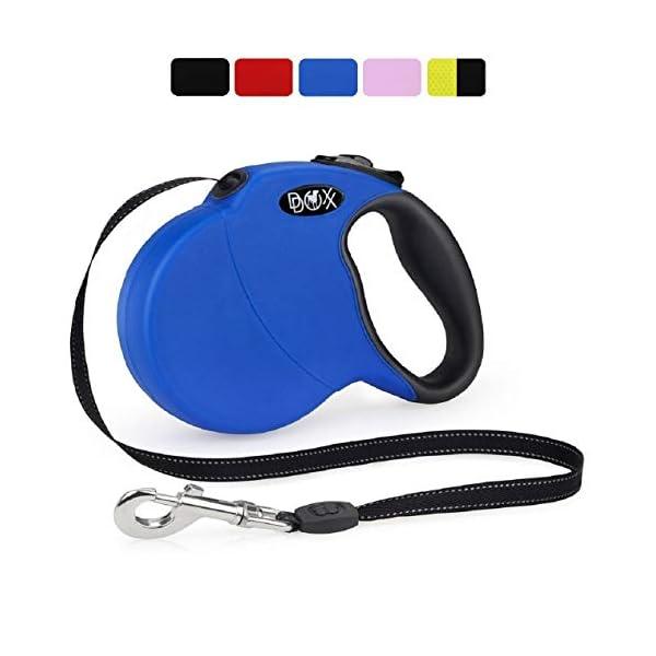 DDOXX-Correa-Extensible-Perro-Reflectante-Retractil-Diferentes-Colores-Tamanos-para-Perros-Pequeno-Mediano-y-Grande-Accesorios-Gato-Cachorro-XS-3-m-8-kg-Azul