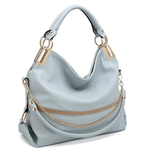 Dasein Women's Classic Rhinestone Detail Large Hobo Bag Top Handle Purse Shoulder Bag w/Shoulder Strap (2-7350 Blue) ()