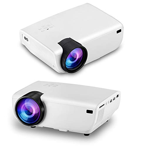 HD Projector, 1080P Home Projector Portable Mini Projector, Support AV, USB, SD Card, HDMI Connection, Suitable for Home Theater Entertainment,White