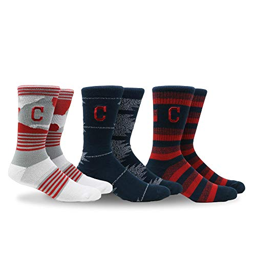 - PKWY by Stance MLB Men's Clubhouse Collection 3-Pack Socks (Large, Cleveland Indians)