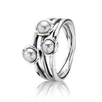 71122d449 ... shop pandora triple grey pearl ring 925 sterling silver no. 190606gp 50  size 50 50bb9 ...