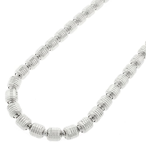 Sterling Silver Italian 5mm Oval Bead Diamond-Cut Barrel Link Solid 925 Rhodium Necklace Chain 24