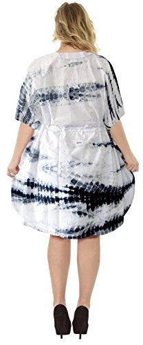 La Leela 100% algodón ligero empate a mano puro tinte kimono encima caftán corto blanco