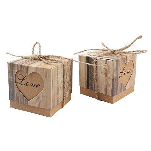 Kaptin 50 Pack Candy Favor Boxes Vintage Kraft Bonbonniere with Burlap Twine, Love Heart Imitation Bark Gift Bag for Wedding Birthday Bridal Party Shower Decoration