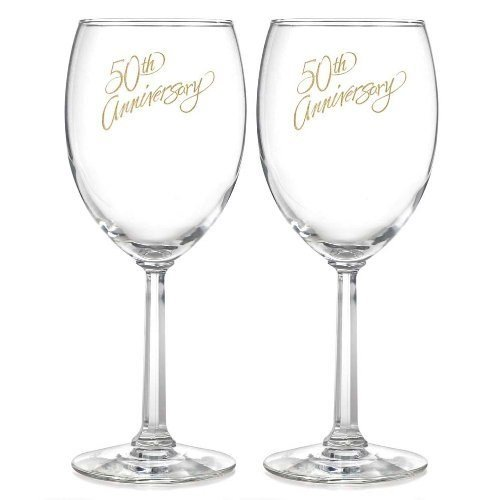 50th Anniversary Barware Set - Hortense B. Hewitt Wedding Accessories 50th Anniversary Wine Glasses, Set of 2
