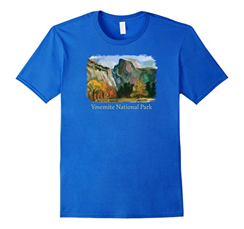 Mens Yosemite National Park - Half Dome, Yosemite Valley t-shirt 2XL Royal Blue -